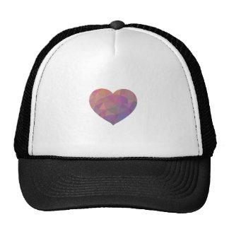Heart Polygonal Red Pink White Violet Elegant Wish Cap