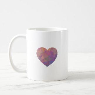 Heart Polygonal Red Pink White Violet Elegant Wish Coffee Mug