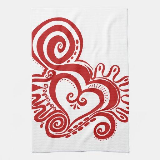 Heart Power kitchen towel