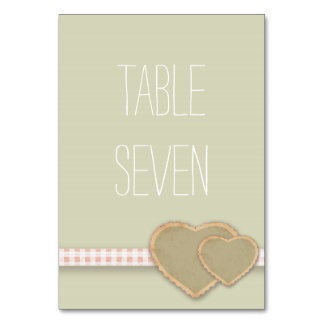 Heart Print Country Wedding Table Names / Numbers Table Card