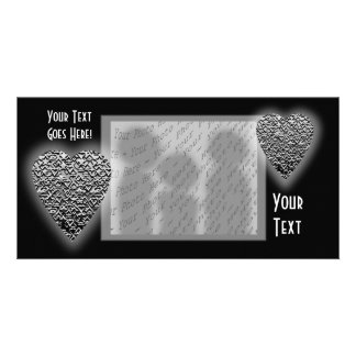 Heart. Printed Gray Pattern. Customised Photo Card