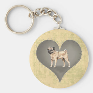 Heart Pug Basic Round Button Key Ring