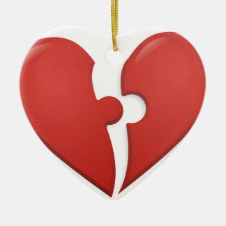 Heart Puzzle Ceramic Ornament