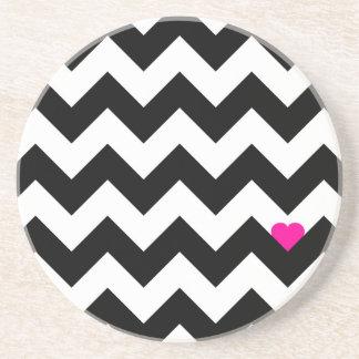Heart & Rafter - Black/Rose Drink Coasters