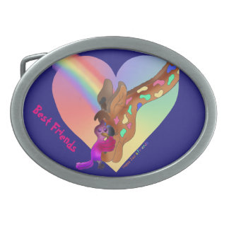Heart Rainbow & Lila by The Happy Juul Company Oval Belt Buckle