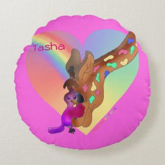 Heart Rainbow & Lila by The Happy Juul Company Round Cushion