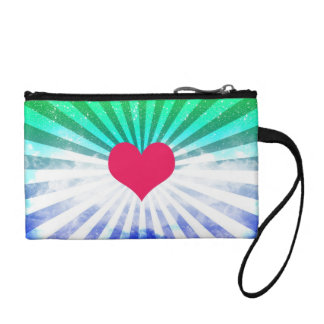 (Heart Rays Art Design) Coin Clutch Coin Purse