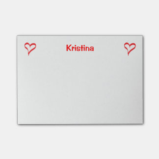 Heart Red And White Love Personalized Post-it Notes