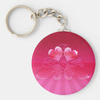 HEART REFLECTIONS & LIGHT RAYS by SHARON SHARPE Basic Round Button Key Ring