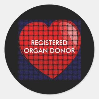 heart REGISTERED ORGAN DONOR Round Sticker