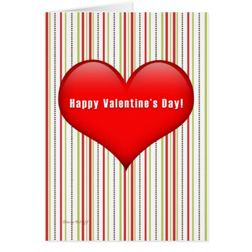 Heart Retro Striped Valentine's Day Card