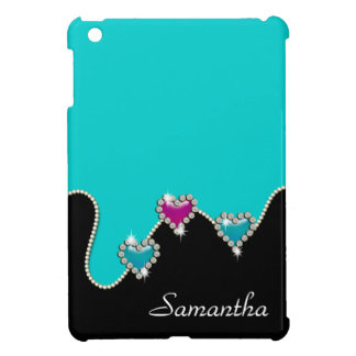 Heart rhinestone glitter girls name iPad mini cases
