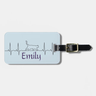 Heart rhythm EKG  cute cat Luggage Tag