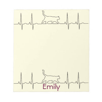 Heart rhythm EKG  cute cat Notepad