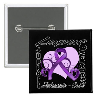 Heart Ribbon - Lupus Awareness Pinback Button