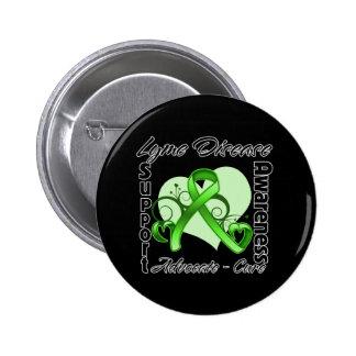 Heart Ribbon - Lyme Disease Awareness 6 Cm Round Badge