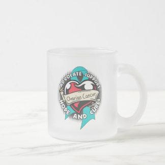 Heart Ribbon - Ovarian Cancer Coffee Mugs