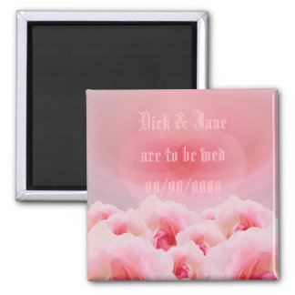 Heart & Roses Save the Date Square Magnet
