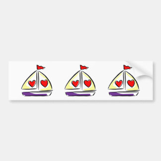 Heart Sailboat Red Hearts Love Sailing Boating Bumper Sticker