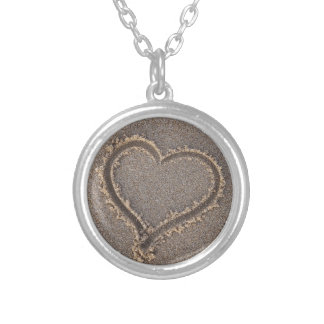 Heart Sand Beach Summer Sea Love Vacation Travel Silver Plated Necklace