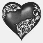 Heart Scroll Black Heart Sticker