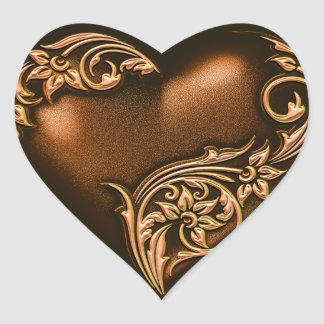 Heart Scroll Chocolate Brown w Gold Heart Sticker