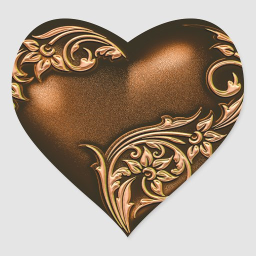 Heart Scroll Chocolate Brown w Gold Sticker