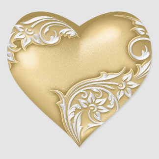 Heart Scroll Gold w White Heart Sticker