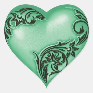 Heart Scroll Jade Green w Black Heart Sticker