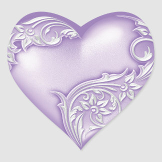 Heart Scroll Lilac w White Heart Sticker