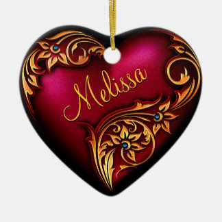 Heart Scroll Red Gold Personalised Ornament