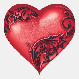 Heart Scroll Red w Black Heart Sticker