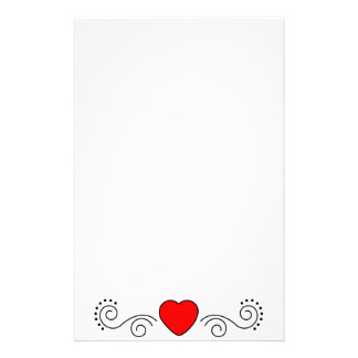 Heart Scrolls and Dots Stationery