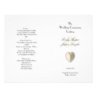 Heart Seashell Beach Wedding Ceremony Program 21.5 Cm X 28 Cm Flyer