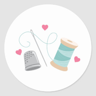 Heart Sewing supplies Classic Round Sticker