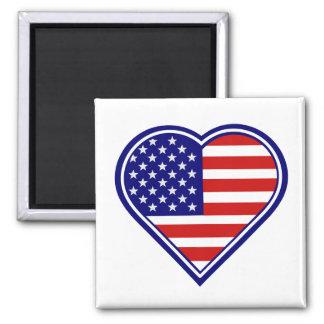 Heart Shape American Flag Magnet 2