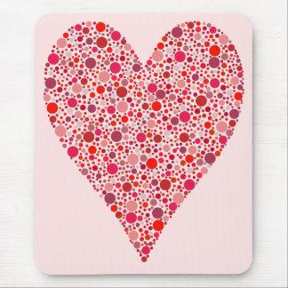 Heart Shape Crimson Polka Dots Mouse Pad