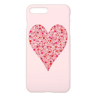 Heart Shape Crimson Polka Dots on Pink iPhone 7 Plus Case