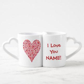 Heart Shape Crimson Polka Dots on Pink Lovers Mug