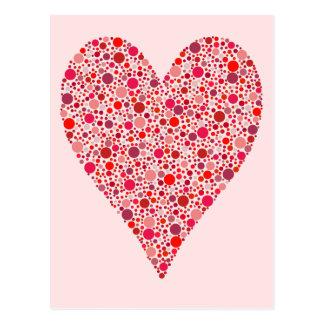 Heart Shape Crimson Polka Dots on Pink Postcard