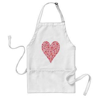 Heart Shape Crimson Polka Dots on Pink Standard Apron