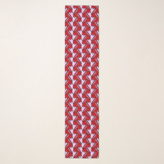 heart shape doodle red and pink pattern scarf