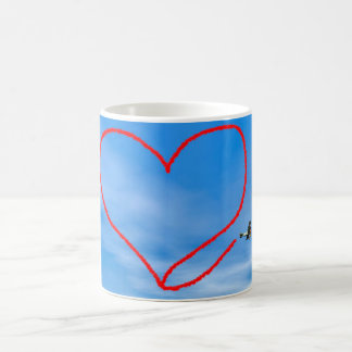 Heart shape from biplan smoke - 3D render Coffee Mug