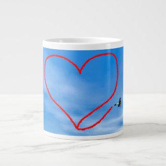 Heart shape from biplan smoke - 3D render Large Coffee Mug