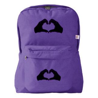 Heart Shape Hands Illustration with black hearts Backpack