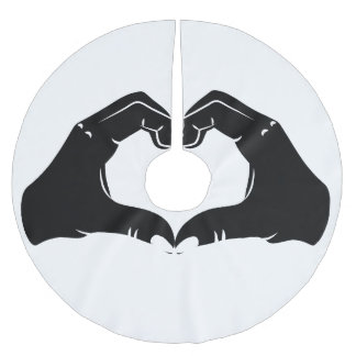 Heart Shape Hands Illustration with black hearts Brushed Polyester Tree Skirt