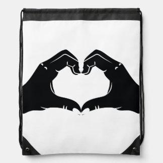 Heart Shape Hands Illustration with black hearts Drawstring Bag