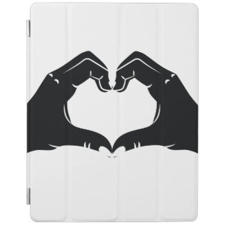 Heart Shape Hands Illustration with black hearts iPad Cover