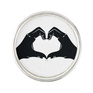 Heart Shape Hands Illustration with black hearts Lapel Pin