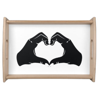 Heart Shape Hands Illustration with black hearts Serving Tray
